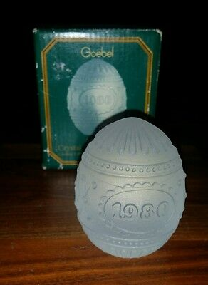 Vintage 1980 Goebel Heavy Crystal Frosted Glass Easter Egg Paperweight w/ Box