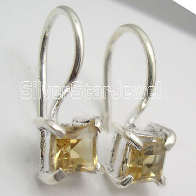 925 Sterling Silver FACETED YELLOW CITRINE Small MODERNISTIC Earrings 1/4""