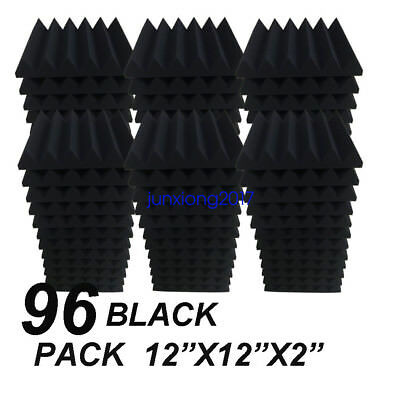 "96 Pack Black Acoustic Wedge Studio Soundproofing Foam Wall Tiles 12"" x 12"" x 2"""