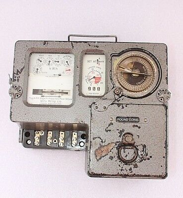 Electric meter slot £1 coins Vintage metal Pre pay Dials Upcycle