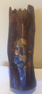 ANTIQUE JAPANESE TREE TRUNK VASE WITH COPPER INLAYS -267mm