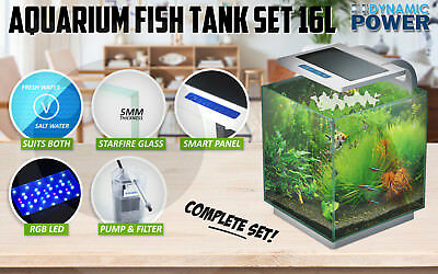 Aquarium Fish Tank Curved Glass RGB LED Light Complete Set Filter Pump 16L
