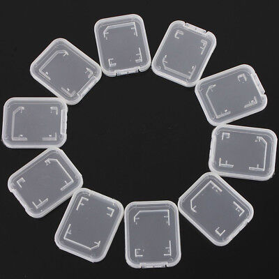 KQ_ 10Pcs Clear Plastic Standard SD SDHC Memory Card Case Storage Holder Box Gra
