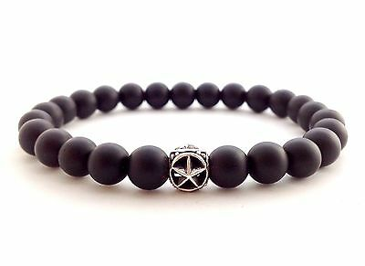 Men's Matte Black Onyx Beaded Bracelet Sterling Silver 925 Texas Lone Star Bead
