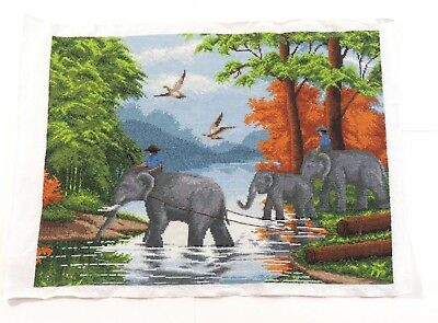 "Completed Cross Stitch Hand **Family of Elephants** Unframed Finished 20.5""x15"""
