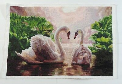 "Completed Cross Stitch Hand ****Swans in Love**** Unframed Finished 20.5""x14"""