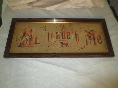 """""""HE LEADETH ME"""" Paper Punch EMBROIDERY in Original Wood Frame"""
