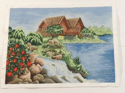 "Completed Cross Stitch Hand ****Lake House**** Unframed Finished 18.5""x13.5"""