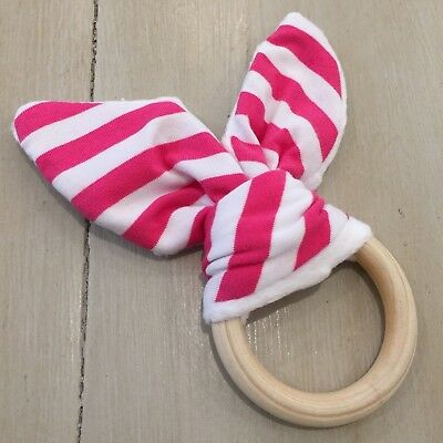 Wood And Cotton Crinkle Sound Bunny Ears Teething Ring, Fuchsia and White Stripe