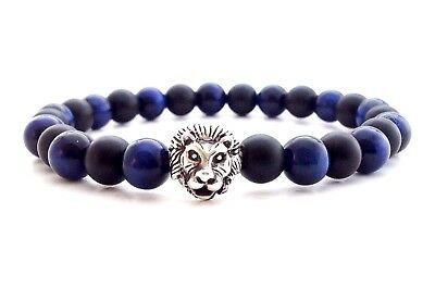 Men's Blue Tiger Eye Black Onyx Gemstone Sterling Silver 925 Lion Bead Bracelet