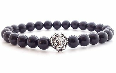 Men's Black Onyx Gem Sterling Silver 925 Lion Bead Jewelry Stretch Bracelet