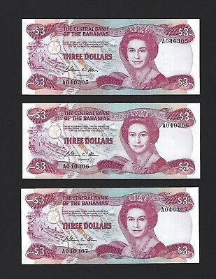 1974 1984 Bahamas $3 Dollars, GEM UNC, Trio of Consecutive Notes P-44a LOW S/N