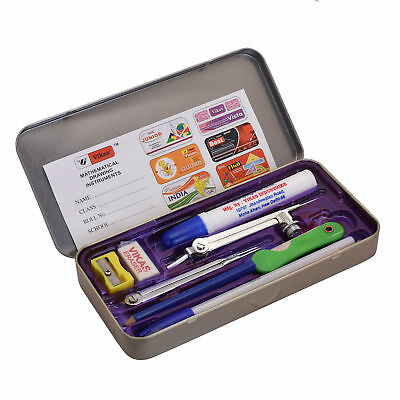 11 Pcs Compass Precision Drawing Set Ruler Protractor Boxed Case School Geometry