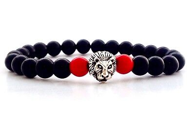 Men's Black Onyx Red Jade Tiger Head Sterling Silver 925 Beaded Stretch Bracelet