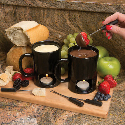 Evelots Set of 2 Personal Fondue Mugs with Votive Candles, Black Or White