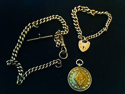 ANTIQUE 1930s FULLY HALLMARKED SILVER ALBERT CHAIN, BRACELET, & SILVER/GOLD FOB