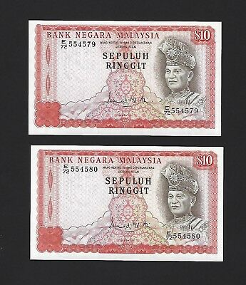 1976 Malaysia $10 Ringgit, P-15, Series 3, 2x Consec, Perfect UNC Uncirculated