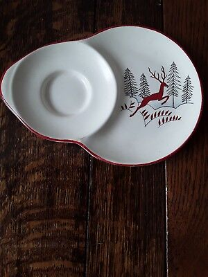 crown devon stockholm saucer with attached side plate 1950s leaping deer