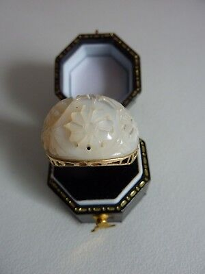Vintage 14 Ct 585 Yellow Gold & Carved White Jade Chinese Ring Uk N Us 6 1/2