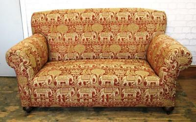 Antique Drop Arm Sofa Upholstered in Tapestry Elephant Design Fabric