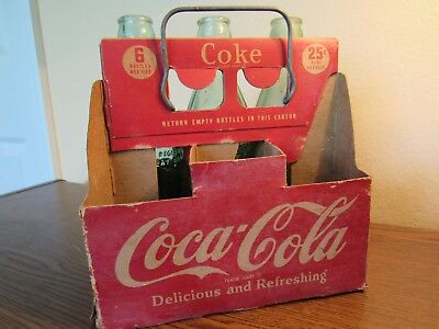 OLD 1930's COCA COLA CARDBOARD BOTTLE HOLDER CARRIER 6/25 CENTS