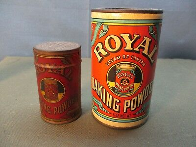2 vintage old ROYAL Baking Powder advertising tins. one is FREE SAMPLE
