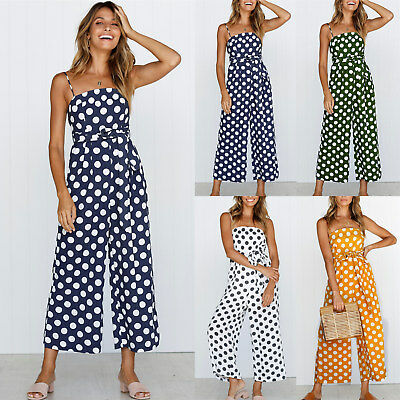 UK Womens Sleeveless Spotted Belt Playsuit Ladies Summer Long Jumpsuit Trousers