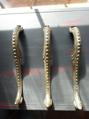 "3 Antique Brass Ornate Cast Stove Legs Victorian Table 7 "" Height Nice Vintage"