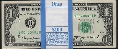 Uncirculated1963B $1 Federal Reserve Note New York Barr Pack with Fancy Numbers