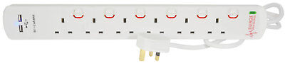 6 Gang Surge Protected Extension Lead with 2xUSB Ports 2m Home Office Study