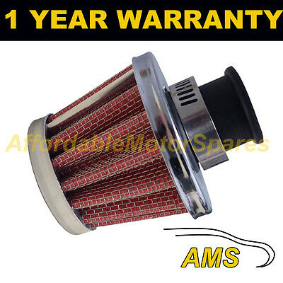 25Mm Air Oil Crank Case Breather Filter Fits Most Vehicles Red & Chrome Cone
