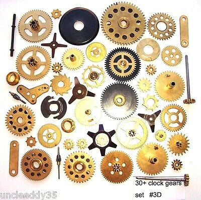 Lot of 30+ vintage large small clock brass gears wheels cogs Steampunk parts #3D