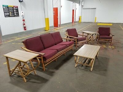 MidCentury Modern Rattan  (Ficks Reed?) furniture Set - Sofa,  Chairs and Tables