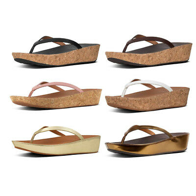 3d458e5b8b9 Fitflop Linny Mirror Women Bronze Mirror Toe Thong Wedge Sandals Size UK 3  - 8