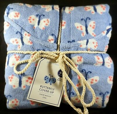 Pottery Barn Kids Butterfly Hooded Beach Swim Cover-up Robe Size 4-6 Medium Blue