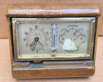 *RARE* 1930's Asprey Travel Clock (NOT WORKING) W/ Thermometer & Barometer