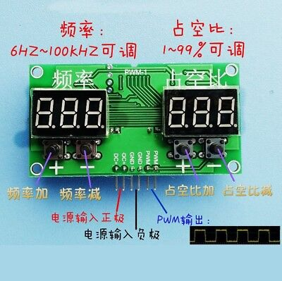 Square Rectangular Wave Signal Generator PWM Pulse Frequency Duty Cycle Adjust