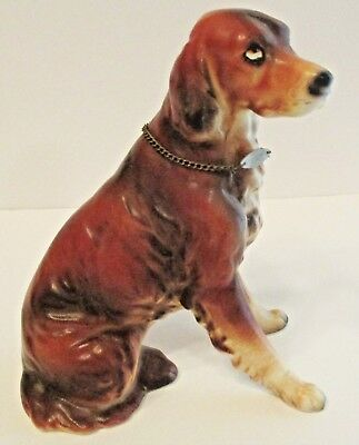 Vintage ARNART Japan Porcelain IRISH SETTER Dog Figurine w/ Metal Collar