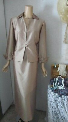 Mother Of The Bride Dress/Jacket Set by Jessica Howard-Size 14-Gold
