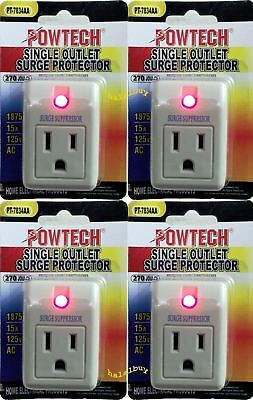 New Lot 4  pack single outlet surge protector 270 joules with power suppressor