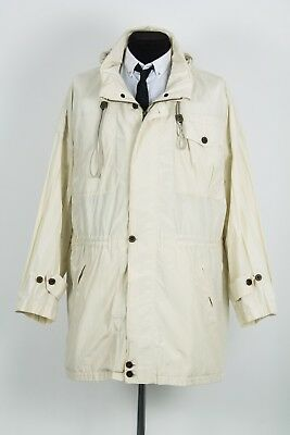 Vintage Rare Mens Burberry London Multipocket Beige Jacket Parka Hooded Coat 50R