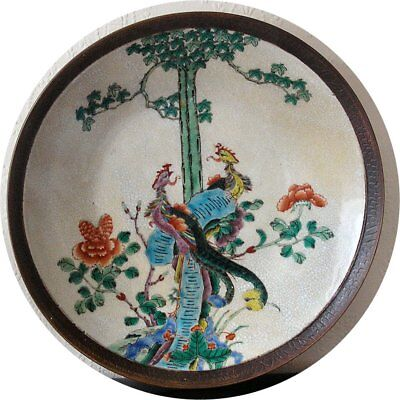 Chinese Famille Verte Crackle Glaze,Chenghua Mark Republic Period Large Charger