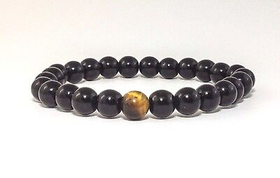 Mens Beaded Bracelet Natural Black Onyx Tiger Eye Gemstone Beads Wristband