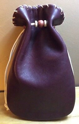 BOGO SALE~New Handmade Mahogany Genuine Leather Drawstring, Dice Bag, Coin Pouch