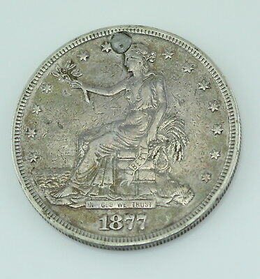 Authentic 1877 U.s. Trade Dollar Silver Coin Holed & Repaired No Reserve #1121