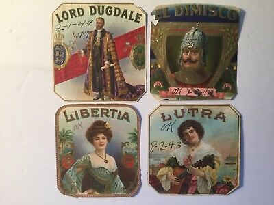 4 Assorted Outer Cigar Box Labels