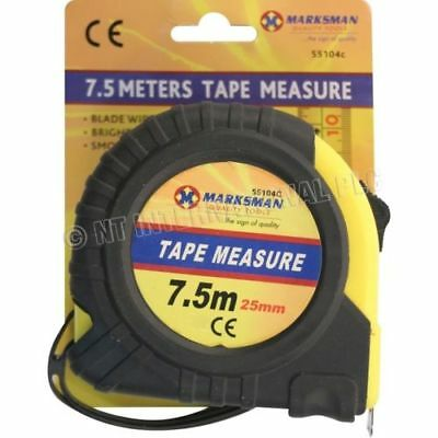 Marksman 7.5M Heavy Duty Industrial Tape Measure 25Mm Width Smooth Blade Recoil
