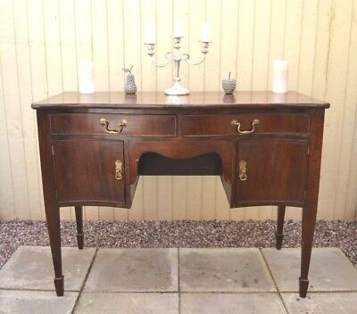 Antique Edwardian Dressing Table Bow Front Writing Desk Mahogany Home Ofice