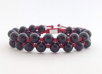 Mens Natural Black Onyx Gemstone Bead Double Layer Adjustable Kabbalah Bracelet