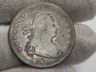 Better Early Date 1806 Draped Bust Silver Quarter.